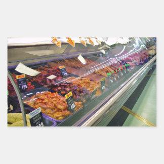 Fresh Meat Deli Counter at supermarket Rectangular Sticker