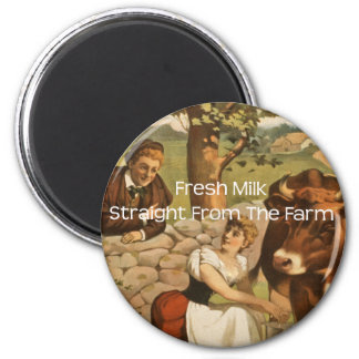 Fresh Milk Straight From the Farm 6 Cm Round Magnet
