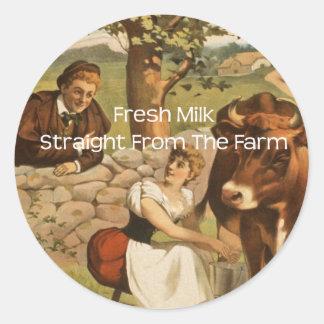 Fresh Milk Straight From the Farm Round Sticker