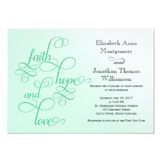 Fresh Mint Faith Hope and Love Wedding Invite