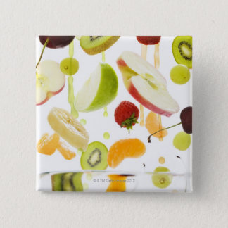 Fresh mixed fruit with apple & orange juice 15 cm square badge
