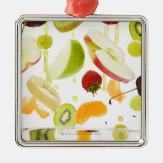 Fresh mixed fruit with apple & orange juice Silver-Colored square decoration