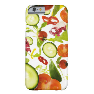 Fresh mixed salad vegetables falling to camera barely there iPhone 6 case