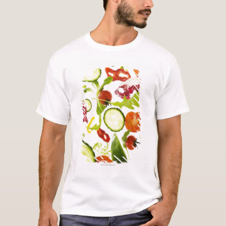 Fresh mixed salad vegetables falling to camera T-Shirt