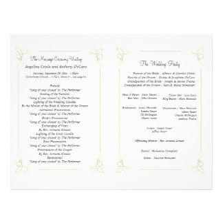 Fresh Olive Green Art Deco Formal Wedding Program 21.5 Cm X 28 Cm Flyer
