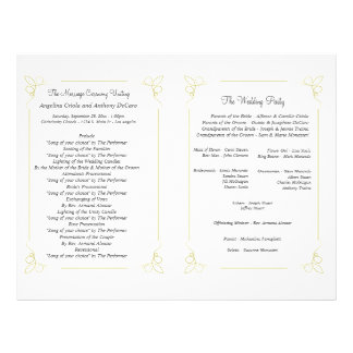 Fresh Olive Green Art Deco Formal Wedding Program 21.5 Cm X 28 Cm Flyer
