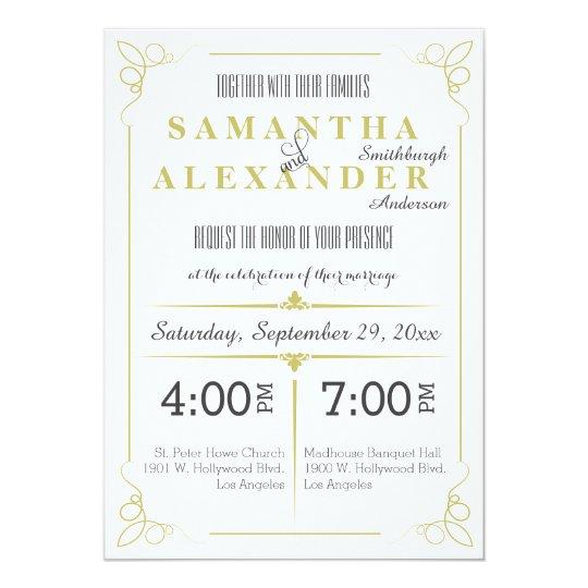 Fresh Olive Green Art Deco Wedding Invitation