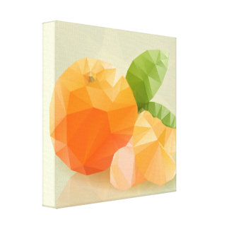 Fresh orange fruit, in modern triangulated style stretched canvas prints