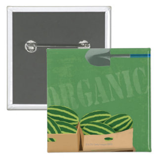 Fresh Organic Melons 15 Cm Square Badge