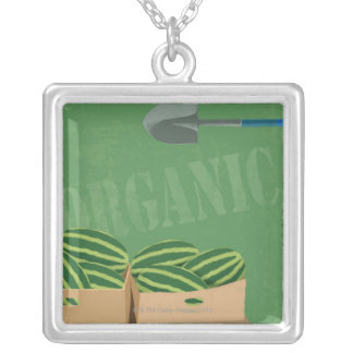 Fresh Organic Melons Silver Plated Necklace