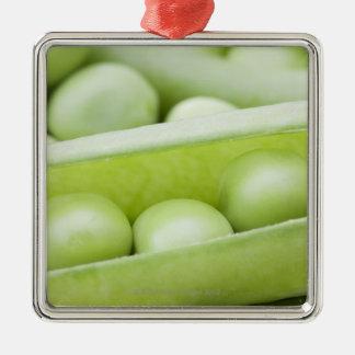 Fresh organic peas Silver-Colored square decoration