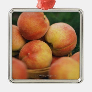 Fresh peaches Silver-Colored square decoration