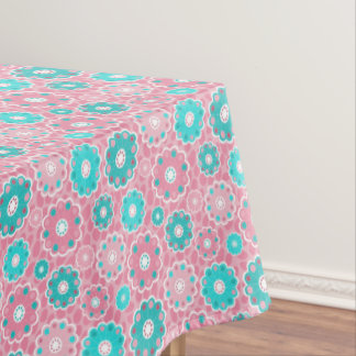 Fresh Pink and Aqua modern flowery Tablecloth