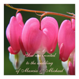 Fresh Pink Bleeding Heart 13 Cm X 13 Cm Square Invitation Card