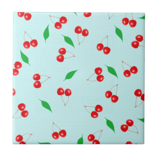 Fresh Pink Cherries on a Mint Background Small Square Tile