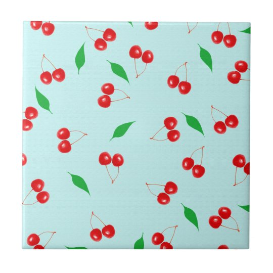 Fresh Pink Cherries on a Mint Background Tile