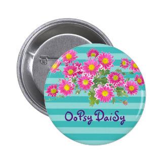 Fresh Pink Daisy Flowers on Turquoise Stripes 6 Cm Round Badge