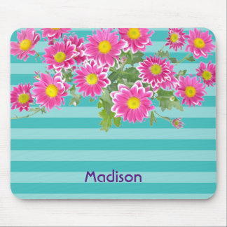 Fresh Pink Daisy Flowers on Turquoise Stripes Mouse Mat