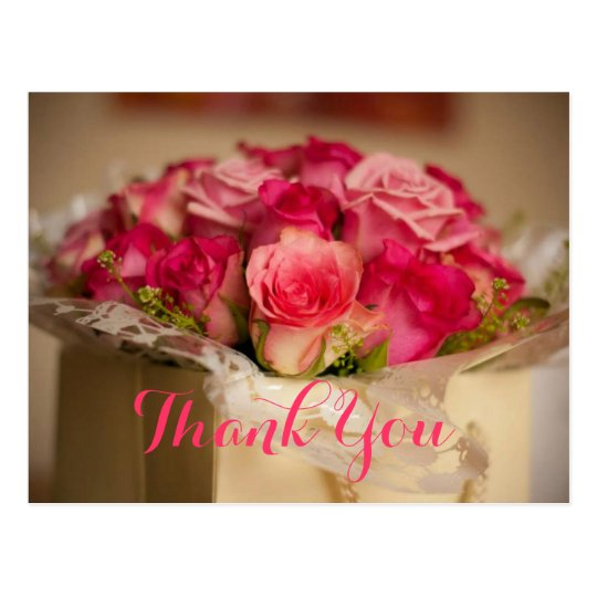 Fresh Pink Roses Bouquet Wedding Gift Thank You