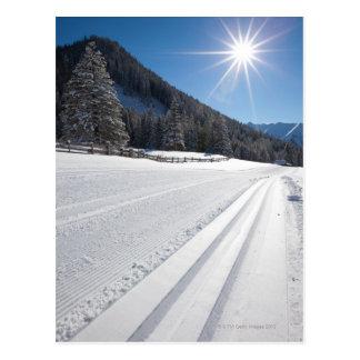 fresh prepared cross-country ski run in a 2 postcard