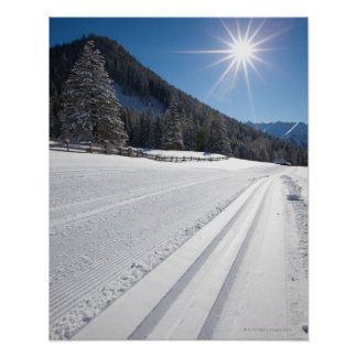 fresh prepared cross-country ski run in a 2 poster
