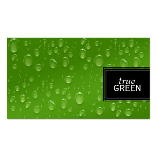 Fresh Raindrops in Green Business Card Template