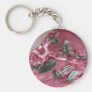 Fresh raw marbled meat steak basic round button key ring