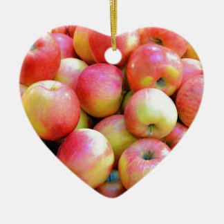 Fresh red and yellow apples ceramic heart decoration