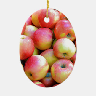 Fresh red and yellow apples ceramic oval decoration
