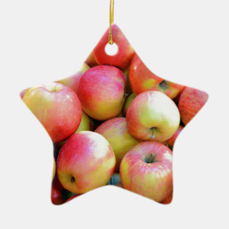 Fresh red and yellow apples ceramic star decoration
