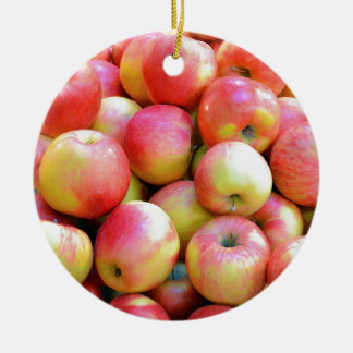 Fresh red and yellow apples round ceramic decoration