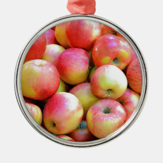 Fresh red and yellow apples Silver-Colored round decoration