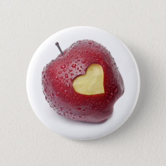 Fresh red apple with a heart shaped symbol 6 cm round badge