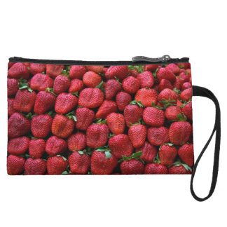 Fresh Red Strawberries Wristlet Clutches