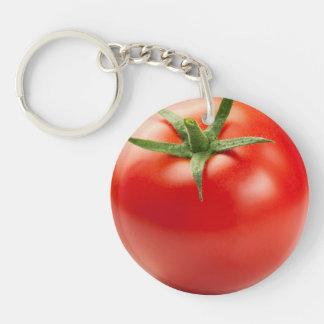 Fresh Red Tomato Isolated On White Background Key Ring