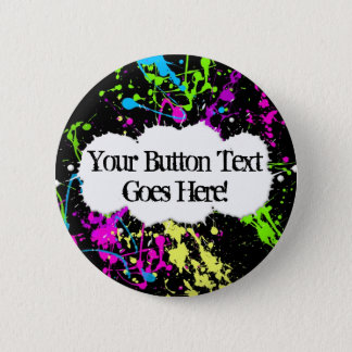 Fresh Retro Neon Paint Splatter on Black 6 Cm Round Badge