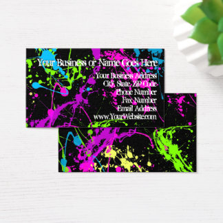 Fresh Retro Neon Paint Splatter on Black 80s Party Business Card