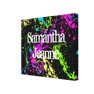 Fresh Retro Neon Paint Splatter on Black Stretched Canvas Print