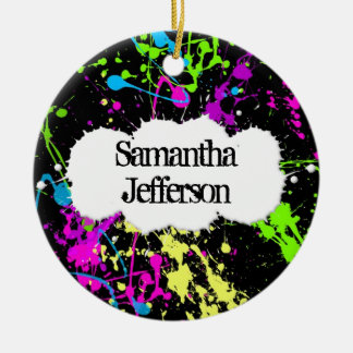 Fresh Retro Neon Paint Splatter on Black Christmas Ornament