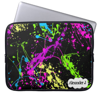 Fresh Retro Neon Paint Splatter on Black Laptop Sleeve