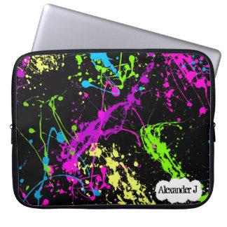 Fresh Retro Neon Paint Splatter on Black Laptop Sleeve