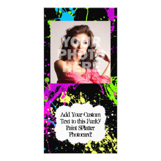 Fresh Retro Neon Paint Splatter on Black Personalised Photo Card