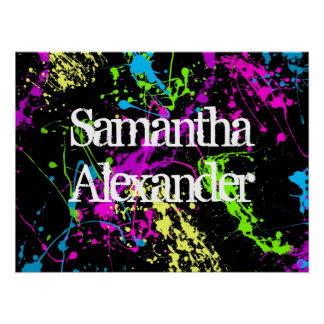 Fresh Retro Neon Paint Splatter on Black Poster