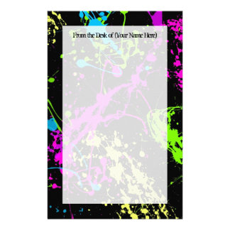 Fresh Retro Neon Paint Splatter on Black Stationery Paper