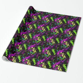 Fresh Retro Neon Paint Splatter Wrapping Paper