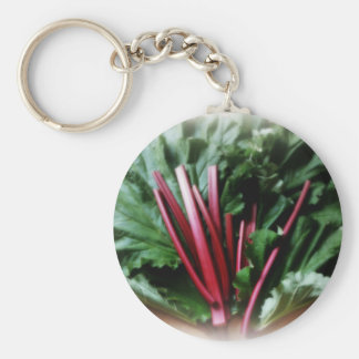 Fresh Rhubarb Stalks and Leaves Key Ring