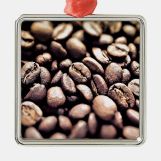 Fresh Roasted Coffee Beans Silver-Colored Square Decoration