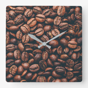 Fresh roasted coffee beans square wall clock