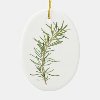 Fresh Rosemary Oval Ceramic Ornament