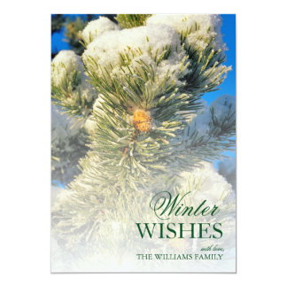 Fresh snow on Pine Needles 13 Cm X 18 Cm Invitation Card
